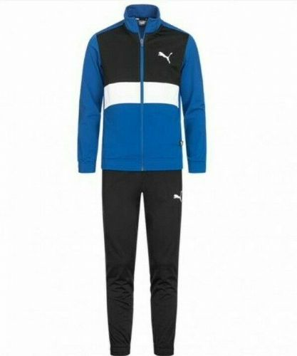 Junior  Boys / Girls Puma Polysuit Tracksuit Black / Blue 580312-39 ages 9 - 16 Years